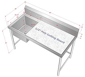 Customized Stainless Steel Sink Poly Top Cutting Table - Stainless steel work table with sink