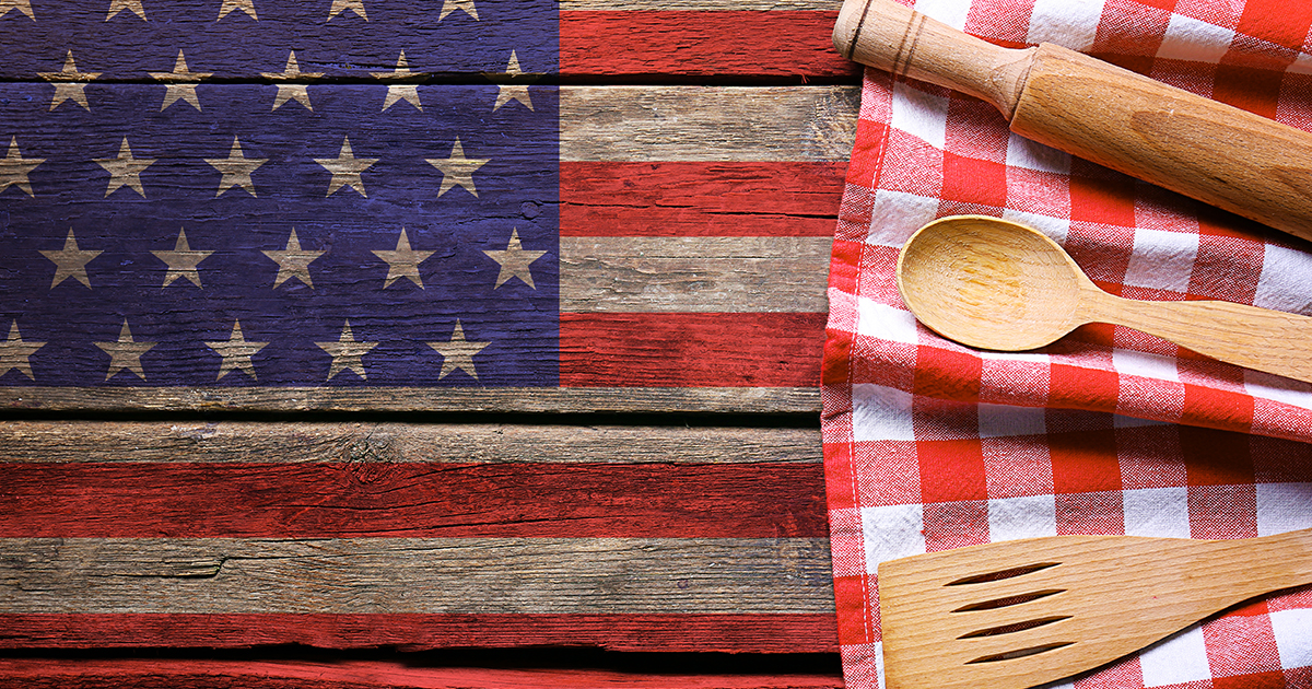 American Flag with utensils