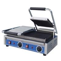 "Globe Double Panini Sandwich Grill - 8.5"" x 9"" Grooved Top Plates - GPGDUE10"