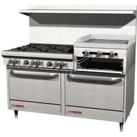 "Southbend 60"" Gas 6 Burner Restaurant Range 2 Ovens 24"" Raised Griddle - S60DD-2RR"