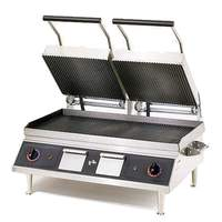 Star Panini Sandwich Grill-Iron/Grooved Top & Smooth btm -14 X 28 - PGT28IGT