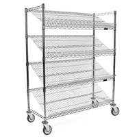 "Eagle Group 36"" Mobile Bakery Angled Shelf Merchandising Cart Chrome - M1836C-4"