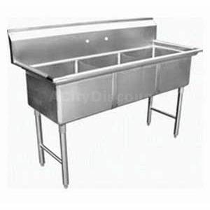 SunFab Stainless 3 Compartment Sink 18in x 18in x 12in Bowls - SE3C-1818-0