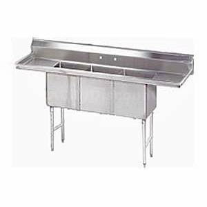 SunFab SE3C-1818-218 Stainless 3 Compartment Sink 18x18x12 w/ Two 18 Drainboards