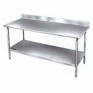 SunFab 30x48 Stainless Top Worktable w/ 2in Backsplash & Undershelf - EWT-3048-2