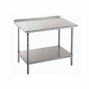 SunFab EWT-2448-2 24x48 Stainless Top Worktable w/ 2in Backsplash & Undershelf