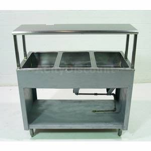 Used Gas Single Well 3 Comp. Buffet Steam Table w Shelf
