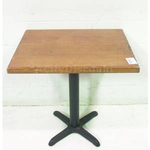 Used Rectangular Brown Wood Table w Black Metal Base 30 x 24