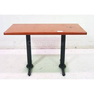 Used Red Wood Dining Table w 2 Black Metal Bases 48 x 24
