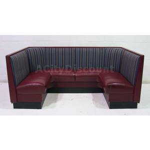 Used Burgundy Seat Blue Striped Back Cushioned Wrap Around Booth