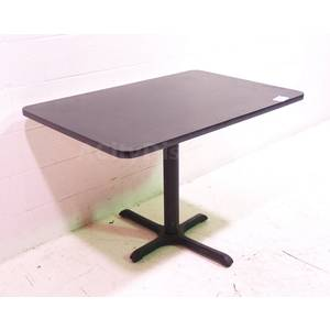 Used Black Laminated Wood Top Table w Blk Metal Base