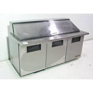 Used True TSSU-72-30M-B 3 Door Pizza Deli Sandwich Prep Top Refrigerator Cooler