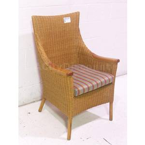 Used High Back Wicker Patio Porch Chair W Striped Seat Cushion