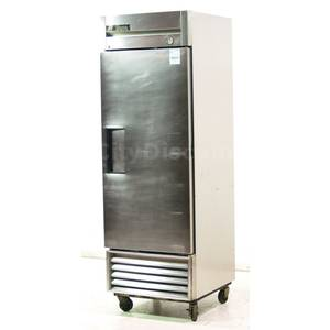 Used True Stainless Single Solid Door Reach In Cooler - T-23