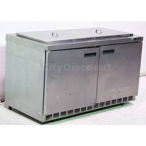 Used Delfield 60 2 Comp Refrigerated Prep Table Cooler w/ 2 Lids - 4460N-24M