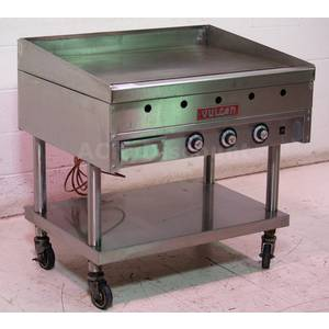 Used Vulcan Commercial Kitchen Nat Gas 36 Griddle W Mobile Stand