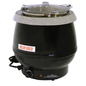 10.5 Quart Black Soup Kettle with Plastic Lid 400w - SB6000B