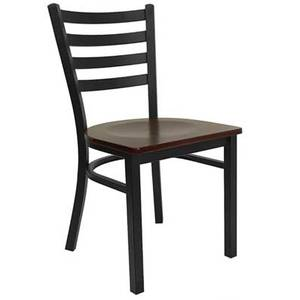Flash Furniture XU-DG694BLAD-***W-GG Black Metal Dining Chair w/ Ladder Back & Wood Seat