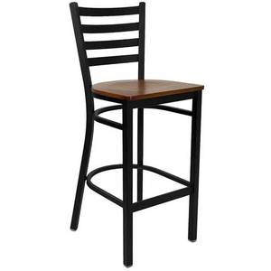 Flash Furniture XU-DG697BLAD-BAR-***W-GG Black Metal Bar Stool w/ Ladder Back & Wood Seat