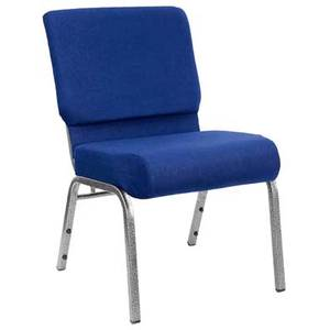 Flash Furniture FD-CH0221-4-SV-NB24-GG 21 Stacking Church Chair w/ Silver Frame & Navy Blue Fabric