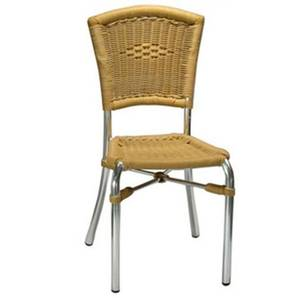 H&D Commercial Seating Outdoor Aluminum Chair w/ Chrome Finish & Honey Rattan - 7029