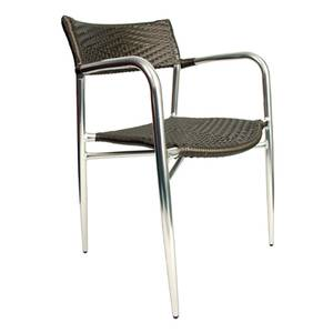 AAA Furniture Aluminum Outdoor Dining Chair w/ Dark Grey Woven Rattan Seat - AL-C/ROMEO