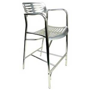 AAA Furniture 319BS-NEW Silver Aluminum Outdoor Restaurant Counter Bar Stool