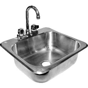 Stainless Drop In Hand Sink 16x15x6.5 w/ NO LEAD Faucet - HS-1615IHG