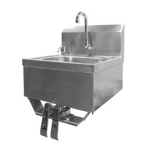 HS-1615KG Wall Mt Hand Sink 16x15x6 w/ Knee Valve & No Lead Faucet
