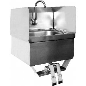 HS-1615KSSG Wall Mt Hand Sink Splash Guard w/ Knee Valve, NO LEAD Faucet