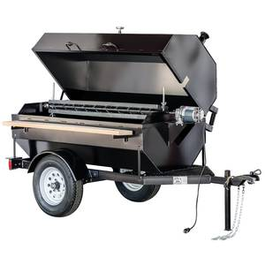 "Big John Grills 6SDR 102"" Towable Charcoal BBQ Grill & Rotisserie 15 Sq.Ft Grill"