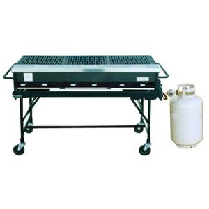 Big John Grills 23x58 Portable LP Gas Grill Cast Iron Grates, Cylinder, Cart - A3P PACKAGE
