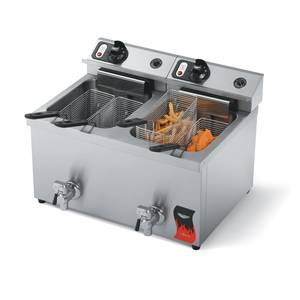 Vollrath 40710 15lb Dual Electric Counter Top Fryer Medium Duty w/ Drain