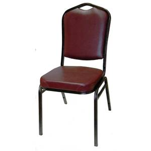 All About Furniture Black Metal Stackable Banquet Chair w/ Black or Red Vinyl - MC500