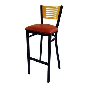 All About Furniture Slat Back Restaurant Bar Stool Metal Frame Black Vinyl Seat - MC350B-BS BL