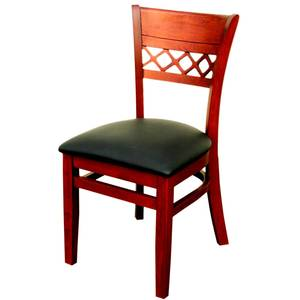 All About Furniture WC825 BL Venetian Wood Dining Chair w/ Black Vinyl Seat & Finish Opts