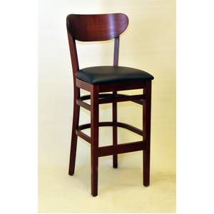 All About Furniture WC808-BS BL Wood Oval Back Dark Mahogany Bar Stool Black Vinyl Seat