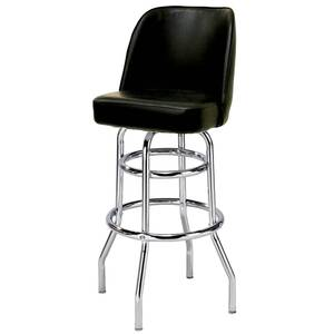 All About Furniture Large Two Ring Chrome Bar Stool w/ Black Vinyl Bucket Seat - MS2B-L BL