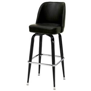 All About Furniture MS18B-L BL Large Black Chrome Bar Stool w/ Black Vinyl Bucket Seat