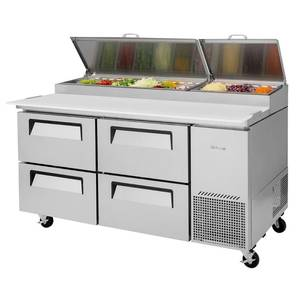 Turbo Air TPR-67SD-D4 67in Commercial Pizza Prep Table 9 Pans 4 Cooler Drawers