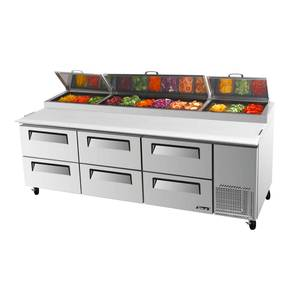 Turbo Air TPR-93SD-D6 93in Commercial Pizza Prep Table 12 Pans w/ 6 Cooler Drawers