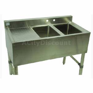 Klingers Trading 2 Compartment Bar Sink with Two 12 Drainboards Stainless - BAR-2-2D