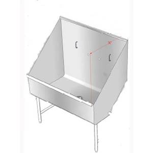 Atlanta Culinary Equipment DOGSINK48 48 x 30 Dog Grooming Wash Sink Tub with Stainless Legs