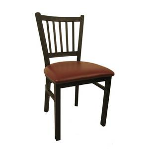 H&D Commercial Seating 6199 VENEER Black Metal Dining Wrinkle Back Chair with Veneer Seat