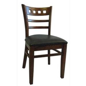 H&D Commercial Seating 8626 Wood Restaurant Masque Side Chair with Black Vinyl Seat