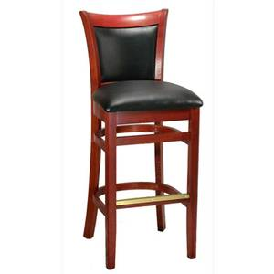 H&D Commercial Seating 8279B Beech Wood Sloan Bar Stool Black Vinyl Seat Finish Option