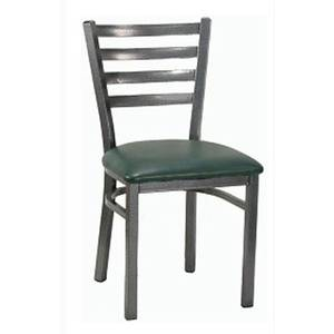 H&D Commercial Seating 6147 Silver Metal Ladder Back Chair with Black Vinyl Seat