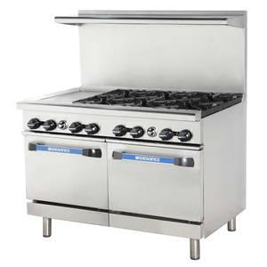 Radiance TARG-6B12G/TARG-12G6B 48 Commercial Gas Range 2 Std Ovens 6 Burners & 12 Griddle
