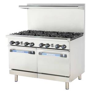 Radiance 48 Commercial Gas Range 2 Std Ovens 4 Burners & 24 Griddle - TARG-4B24G/TARG-24G4B