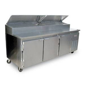 Marsal BM72 72 Stainless Pizza Prep Table Cooler with 2 Doors